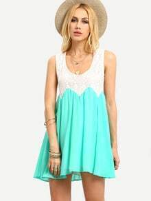 Contrast Lace & Chiffon Tank Dress - Green