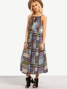 Keyhole Tie-Neck Striped Cami Dress