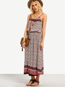 Tie-Neck Paisley Print Blouson Cami Dress