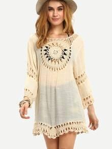Crochet Insert Loose-Fit Dress