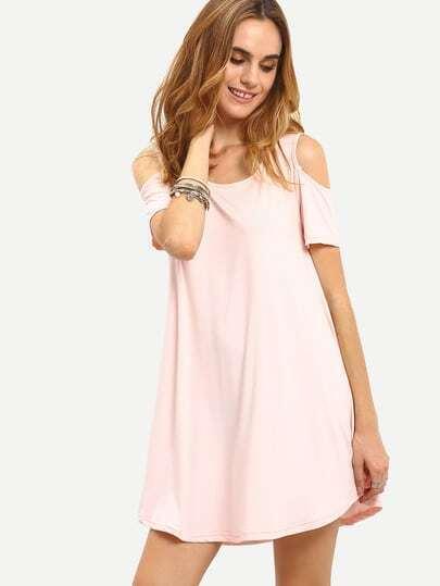 Open Shoulder Swing Asymmetric Dress