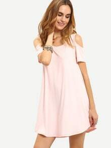 Open Shoulder Swing Asymmetric Dress