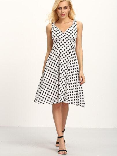 Surplice Front Sleeveless Polka Dot Print Dress