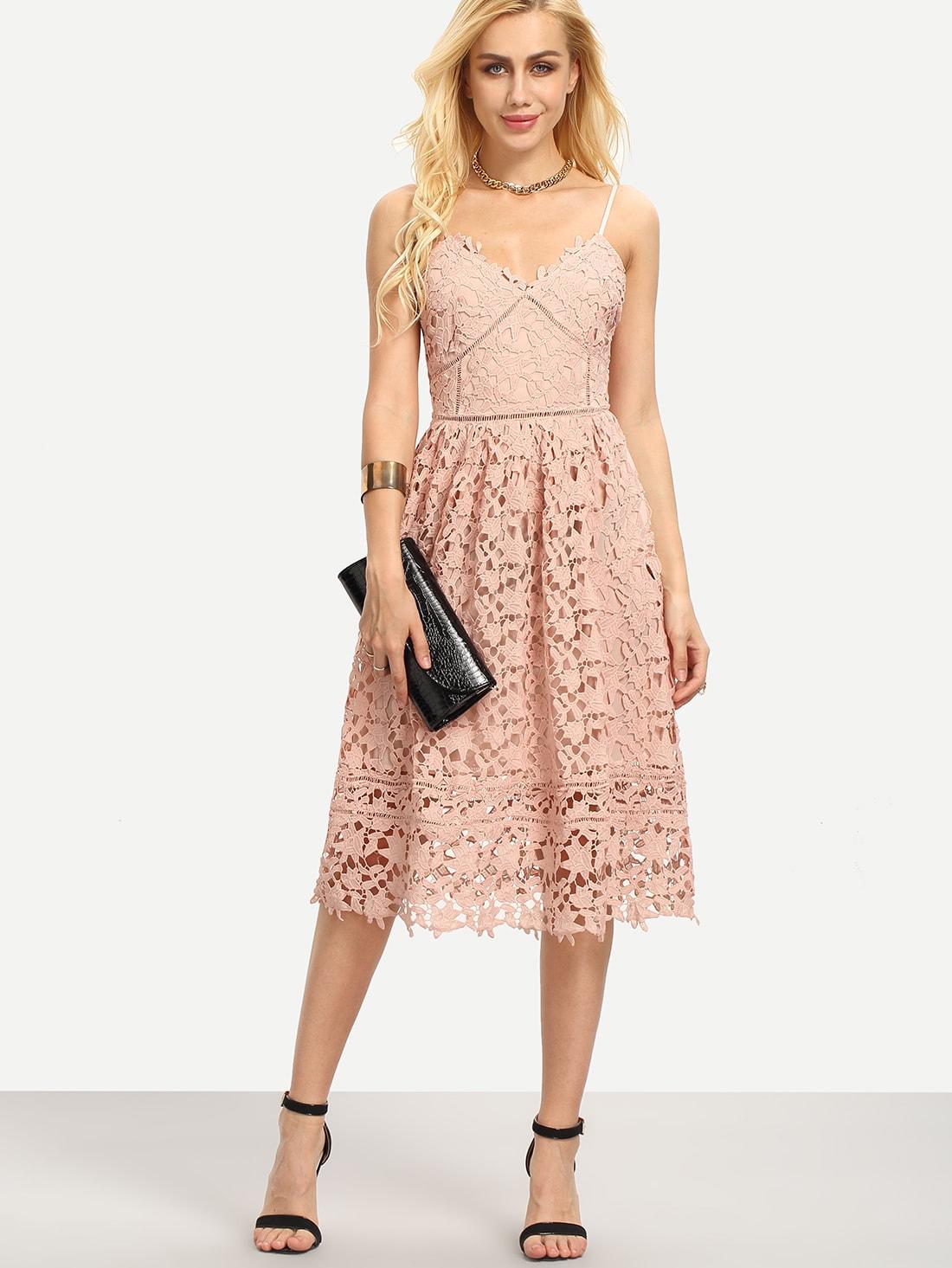 Фото Hollow Out Fit & Flare Lace Cami Dress. Купить с доставкой