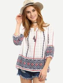 Tassel Tie-Neck Tribal Print Blouse