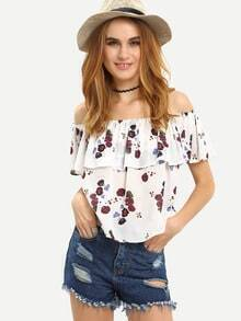 Ruffled Off-The-Shoulder Flower Print Top