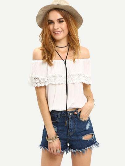 Lace Trimmed Ruffled Off-The-Shoulder Top