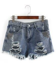 Ripped Studded Denim Shorts