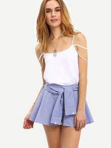 Faux Sleeve Tie Striped Culottes