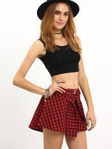 Faux Sleeve Tie Checkerboard Culottes