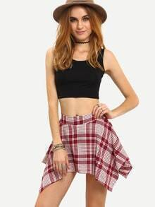 Asymmetric Mini Plaid Culottes - Red