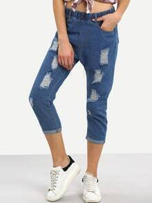 Ripped Elastic Waist 3/4 Length Jeans