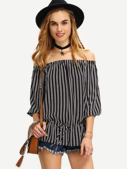 Black White Striped Off The Shoulder Blouse
