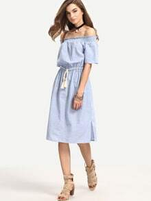 Blue Off The Shoulder Striped Knee Length Dress