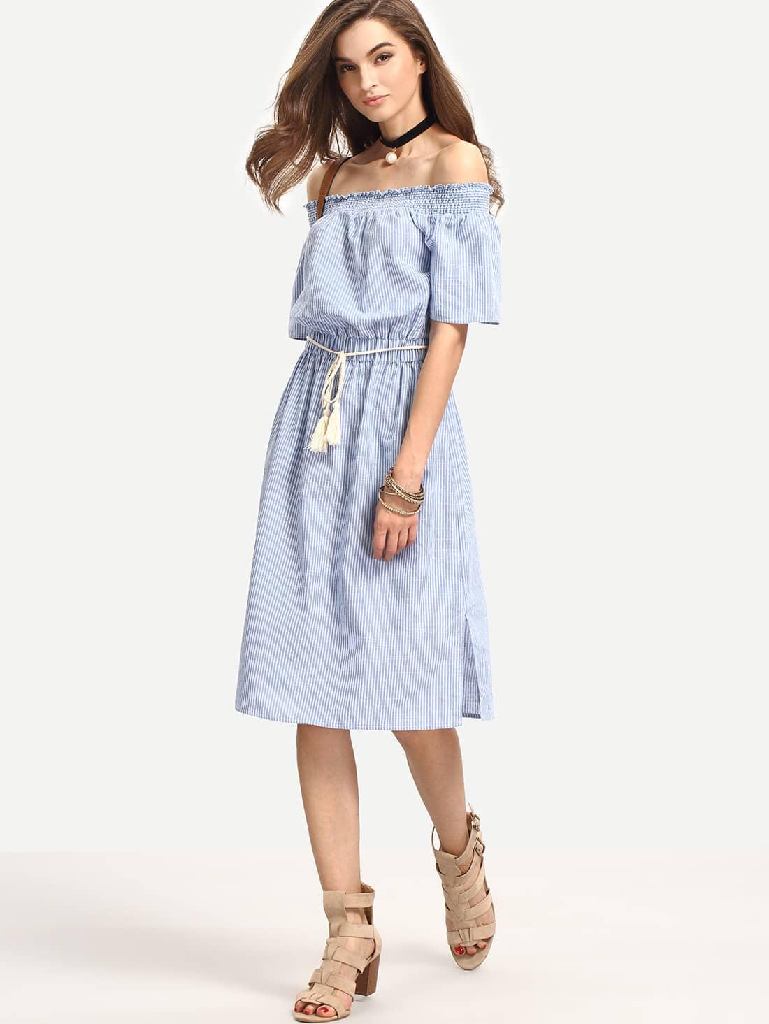 Blue Off The Shoulder Striped Knee Length Dress dress160511515