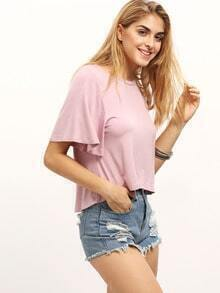 Pink Short Sleeve Dip Hem T-shirt