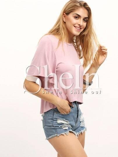 Pink Short Sleeve Dip Hem T-shirt