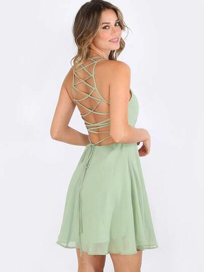 Crisscross Lace Up Back Flare Dress