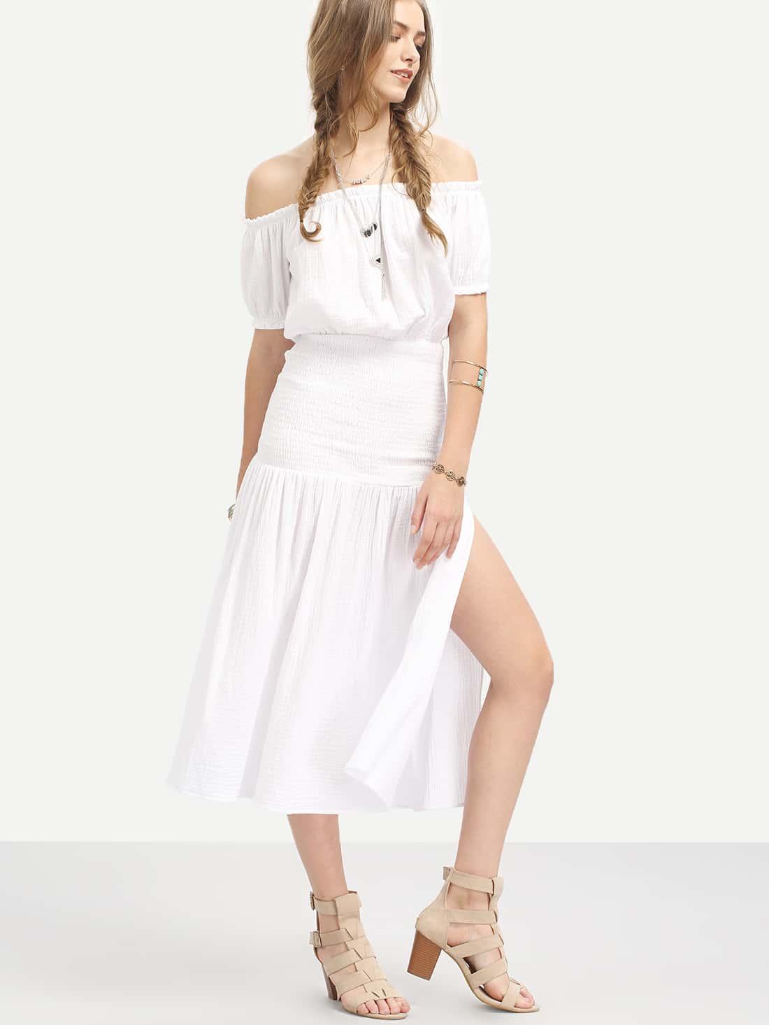 White Off The Shoulder Split Side Midi DressWhite Off The Shoulder Split Side Midi Dress<br><br>color: White<br>size: M