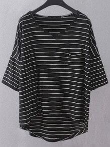 Black V Neck Dip Hem Pocket Stripe T-shirt