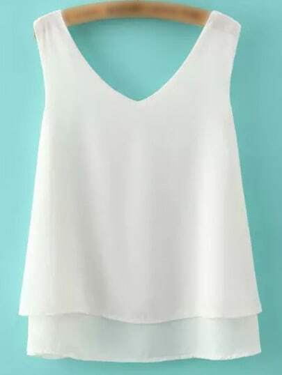 Top escote V gasa tank -blanco