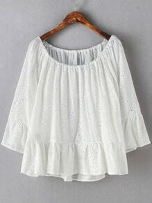 White Bell Sleeve Boat Neck Embroidery Blouse