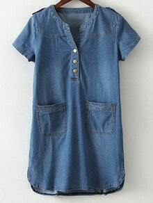 Blue Pockets Buttons Front Dip Hem Denim Dress