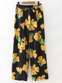 Multicolor Tie-Waist Bow Zipper Front Flowers Print Pants