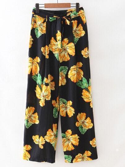 Multicolor Tie-Waist Bow Zipper Front Flowers Print Pants