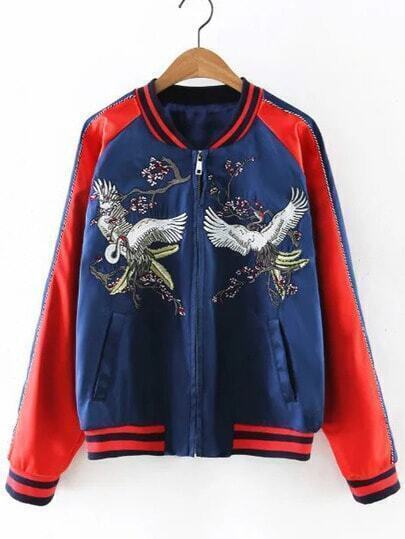 Red Pockets Zipper Front Embroidery Jacket