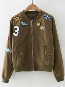 Army Green Zipper Front Badge Embroidery Jacket