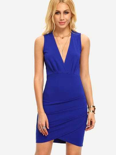 Blue Sleeveless Deep V Neck Bodycon Dress