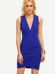 Blue Sleeveless Deep V Neck Bodycon Dress