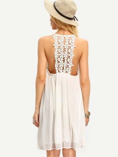 Beige Spaghetti Strap Crochet Patchwork Shift Dress