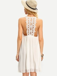 Beige Spaghetti Strap Crochet Patchwork Shift Dress