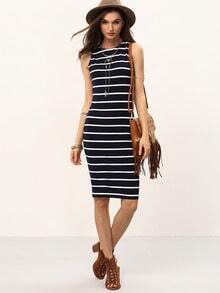 Black White Striped Sleeveless Knee Length Dress