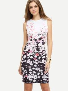Multicolor Flower Print Sleeveless Bodycon Dress