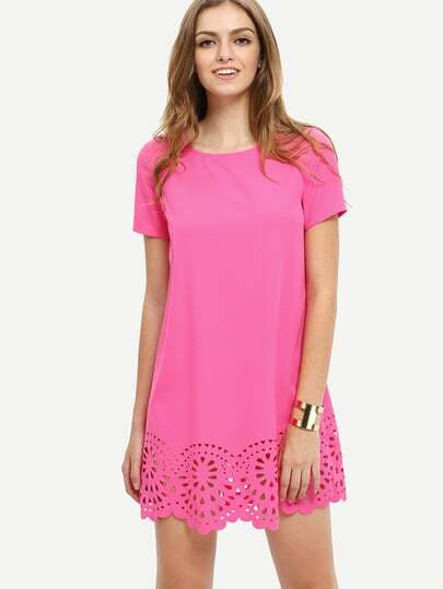 Hot Pink Short Sleeve Hollow Shift Dress