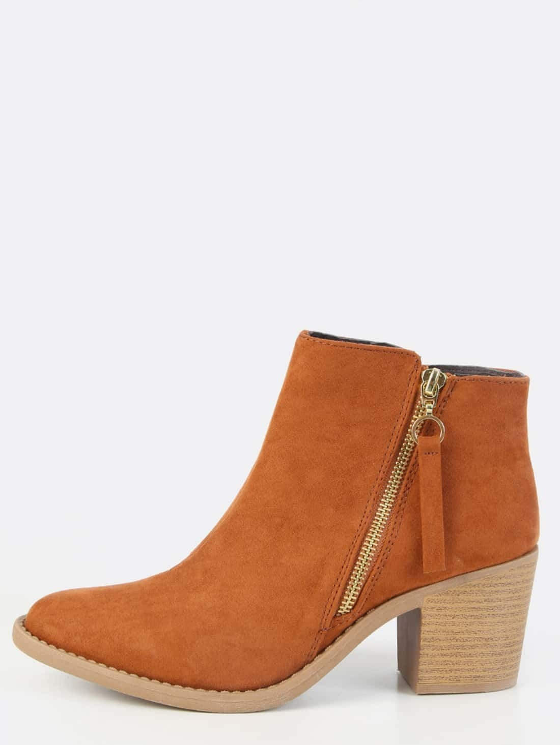 faux suede stacked heel boots rust shein sheinside