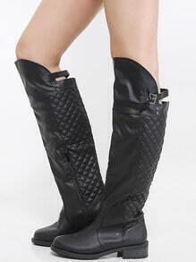 Qupid Relax-x Quilted Riding Boots BLACK