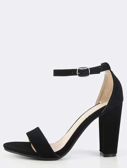 Single Sole Ankle Strap Chunky Heels BLACK
