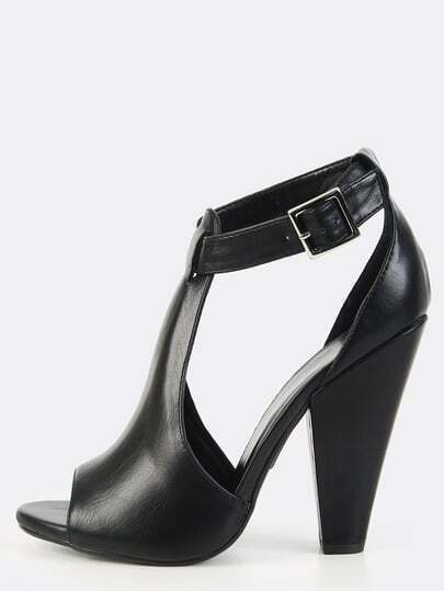 Cut Out Ankle Strap Chunky Heels BLACK