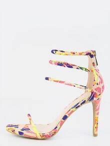 Neon Stiletto Triple Strap Heels NEON PINK MULTI
