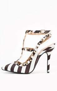 Two Tone Studded Chevron Ankle Strap Pumps