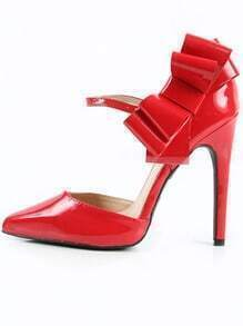 Qupid Virtue-77 Patent Leather Bow Pumps RED