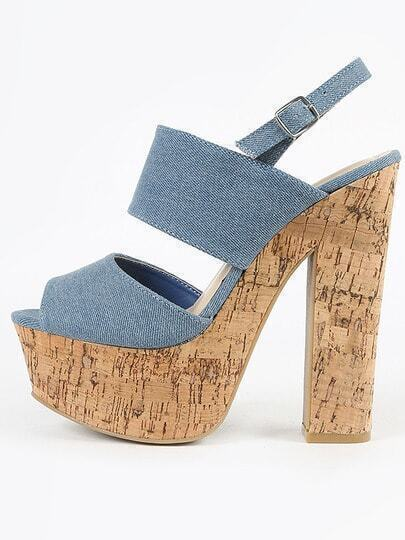 Bamboo Leela-05 Slingback Denim Cork Heels BLUE DENIM