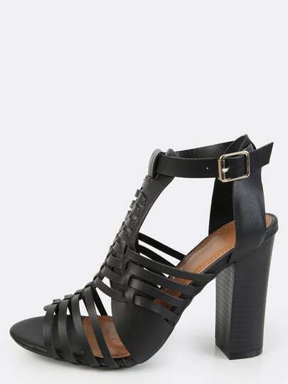 Woven Chunky Stacked Heels BLACK