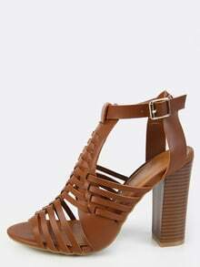 Woven Chunky Stacked Heels CHESTNUT