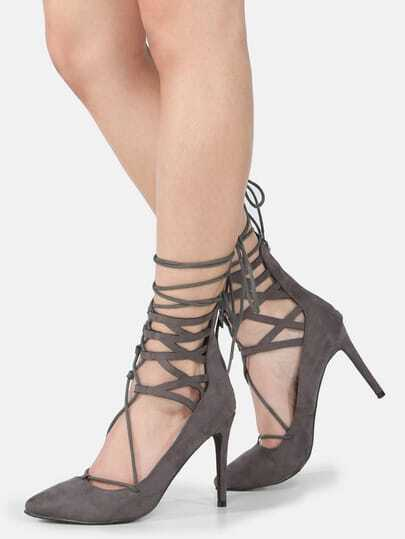 Pointy Toe Lace Up Pumps GREY