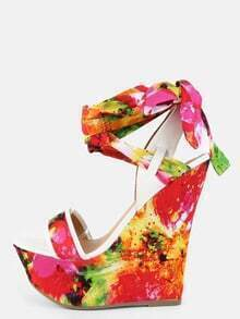 Bright Floral Wrap Wedges RED MULTI